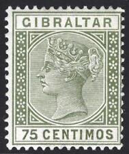 Gibraltar 1890 75c Olive Green SG 29 Scott 35 LMM/MLH Cat £32($47)