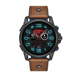 Diesel Men's Stainless Steel Touchscreen Watch with Leather Band Strap, Brown, 2