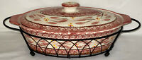 "Temp-Tations OLD WORLD CRANBERRY*13 1/2"" -1 1/2 QT OVAL CASSEROLE W/LID & CRADLE"