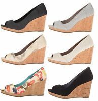 TOMS Women's Stella Peep-Toe Wedges
