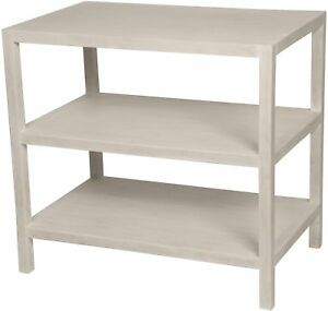 """28"""" Set of Two Side / End Table Solid Mahogany Wood Modern White Finish 3 Shelf"""
