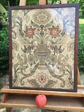 Exquisite Antique 18th 19th C Silk Needlework Embroidery Sampler Framed