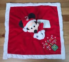 Disney Baby Mickey Mouse Lovey Security Blanket Red My First Christmas