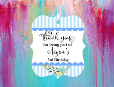 10 White Gift Tags Personalised Bomboneire Thank you Birthday Boy Blue