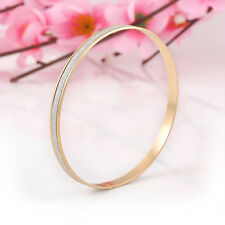 2Pc/Set Polished Bangle Silver Gold Stainless Steel Women lady Bracelet Chain