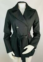 Tommy Hilfiger Small Womens Jacket Coat Rain Black Belted Waist Double Breast
