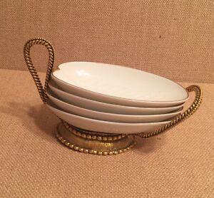 Beautiful Vintage Leaf Shaped Sauce Bowls Set Of 4 With Gold Serving Holder.