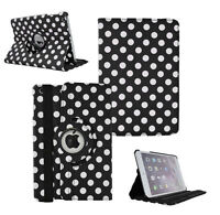 BLACK Fashion Dots Leather 360° Rotating Stand Case Cover For iPad 2/3/4 UK POST