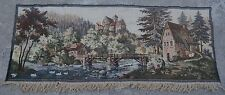 2'2 x 5'4 Vintage French Beautiful Nomadic Village Scene Tapestry Wall Hanging