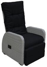 KMH Polyrattan Gartenstuhl Relaxstuhl Sonnenliege Liegestuhl Sessel grau Stuhl