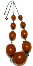 RUSSIAN NOUVEAU 875 STERLING SILVER RUSSIA AMBER BEAD LARGE CHAIN NECKLACE