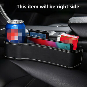 1Pc Car Cup Holder Console Side Right Seat Gap Filler Storage W/ Coin Organizer