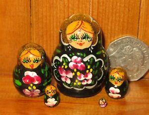 Miniature Matryoshka BLACK Pink flowers Russian Nesting Dolls 5 Tiny signed ART