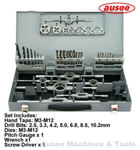HSS Metric Hand Tap, Die and Drill 44pcs Set M3-M12