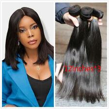 "Natural Color Brazilian Hair Weave 3 Bundles Straight Unprocessed Human Hair 12"""