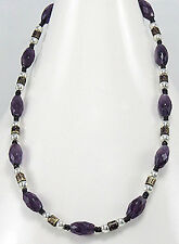 """16""""-30""""  Amethyst and Bead Necklace on Cottong Waxed Thread NEW"""