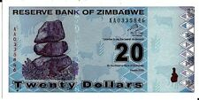 ZIMBABWE 2009 20 DOLLARS CURRENCY UNC