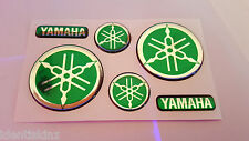 DOMED YAMAHA BIKE ROUNDAL STICKERS DECAL SILVER / GREEN FULL KIT FORKS / TANK