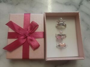 Avon Set Of 3 Small Rings Pink Crown & Heart Gift Boxed