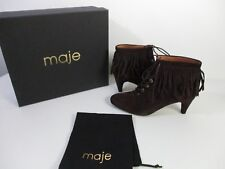 Maje Marron Brown Fringed Suede Ankle Boots Sz 37 NIB $570 Brown