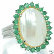 Solid 925 Sterling Silver Genuine Emerald Oval Mabe Pearl Ring Size 7 '