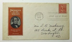 1938 FDC Presidents of the United States Andrew Johnson Ioor Cachet 17c SC #822