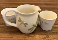 Hand Painted Park Designs Dragonfly Cup And Pitcher Set