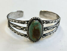 VINTAGE NAVAJO INDIAN SILVER & TURQUOISE BRACELET with fancy stamping
