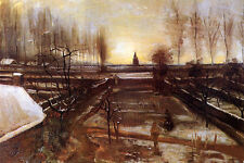 Oil painting Vincent Van Gogh - The Parsonage Garden at Nuenen in the Snow