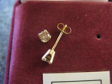 14K YELLOW GOLD DIAMOND STUD EARRINGS 1/3 CT T.W. ROUND CHAMPAGNE DIAMONDS!!