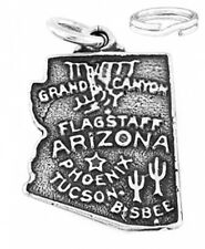 STERLING SILVER STATE OF ARIZONA CHARM WITH SPLIT RING