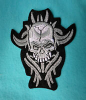 Horned Skeleton Skull Iron on Patch  - Biker Goth Applique Demon  #UK107
