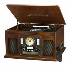 New listing Victrola Nostalgic Aviator Wood 8-in-1 Bluetooth Turntable Entertainment Center,