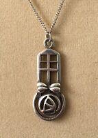 Vintage Silver Necklace Seagems Scottish 925 Silver Celtic Pendant Chain Bridal