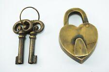 Antique Heart Shape Vintage Style Handmade Brass Lock & Iron Pad Lock With Keys