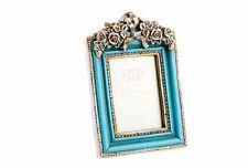 6x8 Bilderrahmen oval Barock antik türkis Blau gold shabby chic Vintage 943
