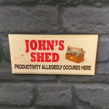 Personalised Shed Sign, Productivity Custom Name Dad Fathers Day Workshop Gift