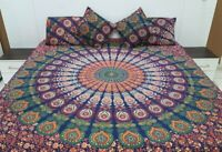 Indian Cotton Mandala Queen Size Bedspread Throw Bed Sheet With Two Pillow Cover