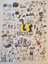 Burton Snowboards Cartoon Large Tan Shirt RARE