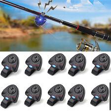 10 x Electronic Fish Bite Alarm Finder Sound Alert LED Light Clip On Fishing Rod