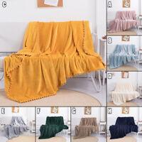 Nordic Pompom Flannel Sofa Blanket Boudoir Cozy Soft Warm Plush Throw Bed Cover
