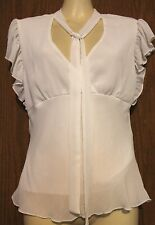 H & M 100% Polyester White Flutter Sleeve Front Tie Crossover Lined Shirt Top 4