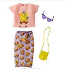 New! 2018 Barbie Doll Sponge Bob Square Pants Fashion Pack Burger Skirt Set