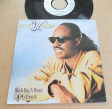 "DISQUE 45T DE STEVIE WONDER  "" WITH EACH BEAT OF MY HEART """
