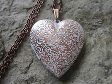 ROSE GOLD TONE COPPER HEART LOCKET - WHITE WASHED - ANTIQUE LOOK - HANDMADE