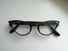 Vintage Retro Cat Eye Glasses Frames, Black with Gold Accents, Made in France