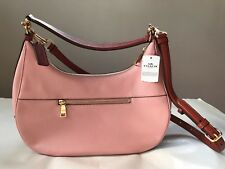 NWT Womens Coach Blush Terracotta Colorblock Pebbled Leather Hobo Shoulder Bag
