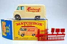 "MATCHBOX 1-75 RW 62b TV Service Van ""rentaset"" ruote grigia elegante profilo con BOX"
