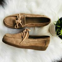 HUSH PUPPIES Tan Suede Wedge Tie Loafers Moccasin Shoes Womens 8 Wide 8W EUC