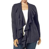Karen Scott New Plus 0X Luxsoft Cardigan Sweater Ruffled Open Front Gray New